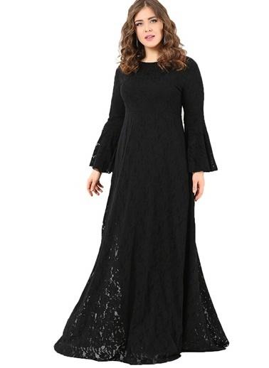 Angelino Butik Büyük Beden Komple Dantel Tesettür Elbise DD791T Siyah